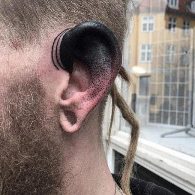 Самые интересные татуировки на ухе Интересное