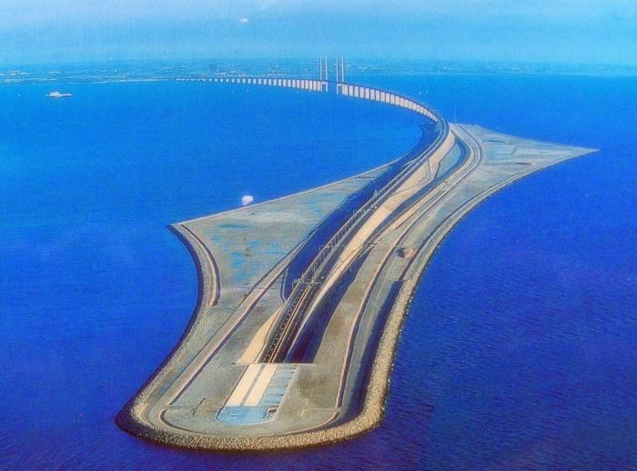 Эресуннский мост – самая длинная «совмещенная» конструкция, «исчезающая» под морской гладью Интересное