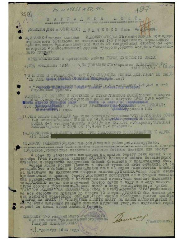 Герои Советского Союза. Дудченко Иван Андреевич 20.07.1912 — 05.12.1944 История,ссср