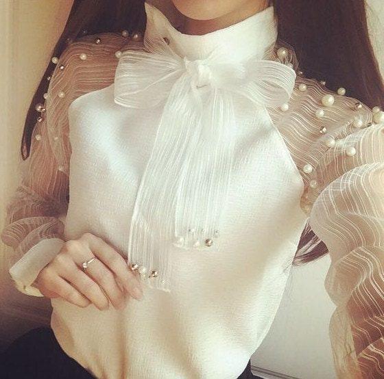 Очаровательно и свежо - легкие белые блузки с декором на все случаи летней жизни лучшее,мода,модные советы,Наряды,образ