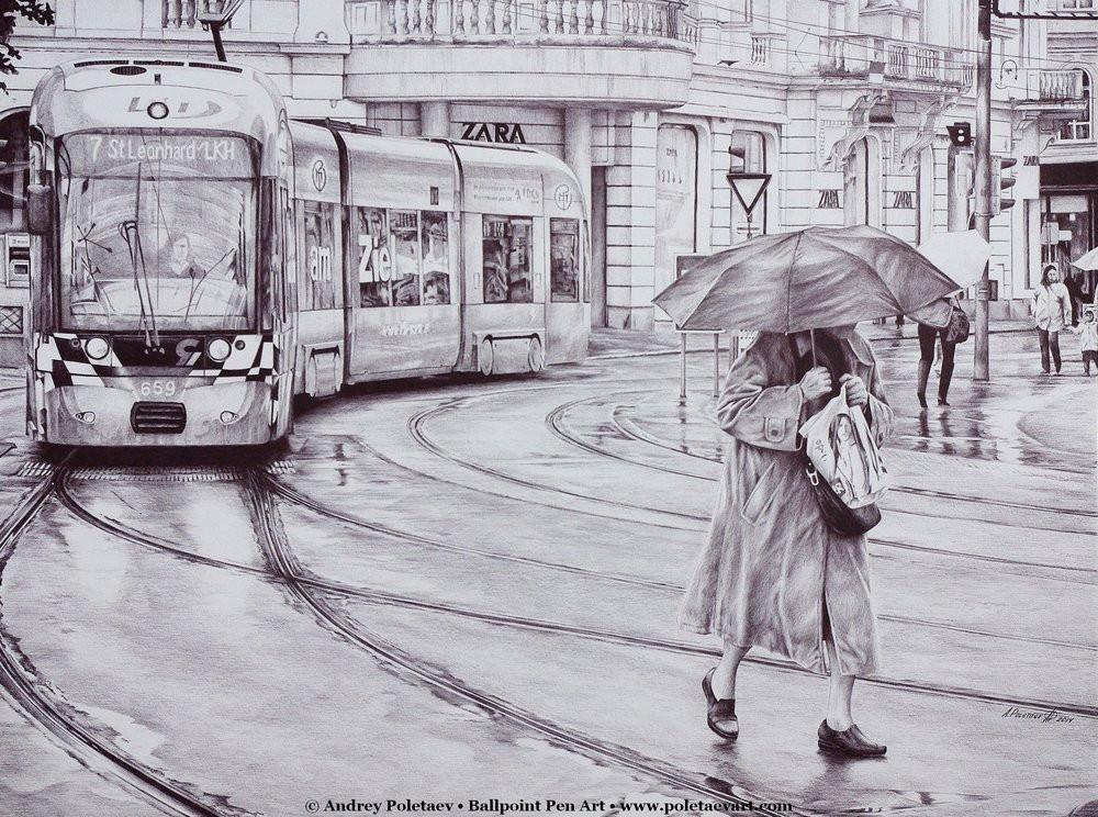 Фотореалистичная живопись шариковой ручкой от Андрея Полетаева