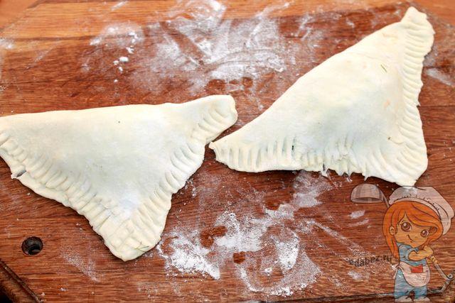 Самса с сыром из слоеного теста. Хрустящие пирожки с пылу, с жару! выпечка,кулинария,самса с сыром