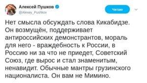 «Он вам не Мимино». Пушков не дал Кикабидзе ни шанса на реабилитацию после слов о России новости,события